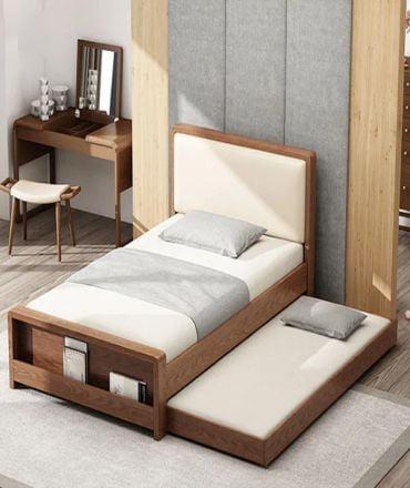 Mẫu giường ngủ gỗ tự nhiên thiết kế thông minh